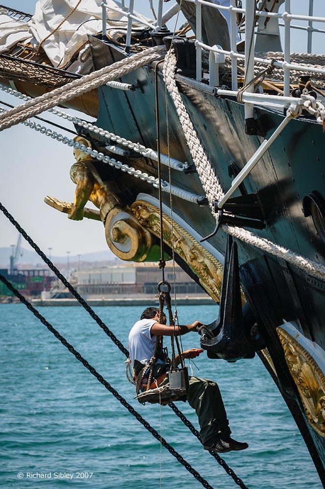 painting the anchor,Palinuro. tall ships, tall ships regatta, Alicante,sea fever