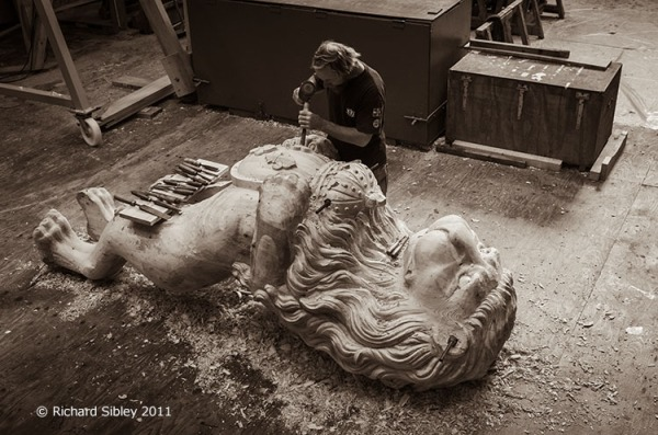 Andy Peters, Maritima Woodcarving. Working on the Lion figurehead for Hermione.