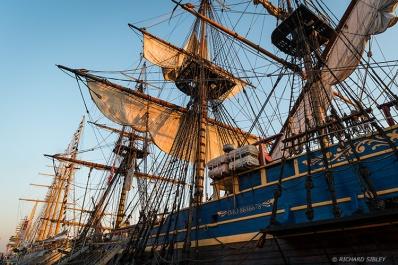 Early morning sun. Gotheborg moored behind Esmeralda, Sail Amsterdam 2015