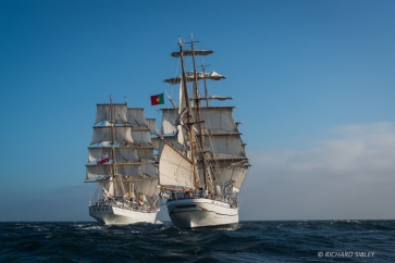 Dar Mlodziezy and NRP Sagres. Race start, Lisbon 2012