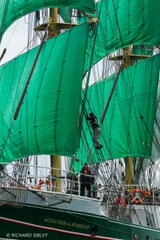 The German Barque 'Alexander von Humboldt' on the start line Antwerp 2010