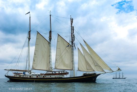 The Dutch Topsail Schooner 'Gulden Leeuw' on the start line Antwerp 2010