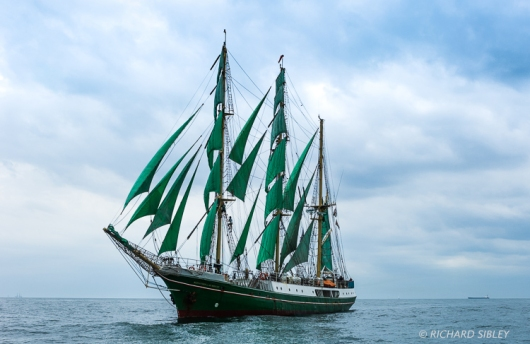 The German Barque 'Alexander von Humboldt' on the start line Antwerp 2010