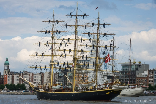 Danish full rigger, Georg Stage. Parade of Sail. Antwerp Tall Ships Race 2010
