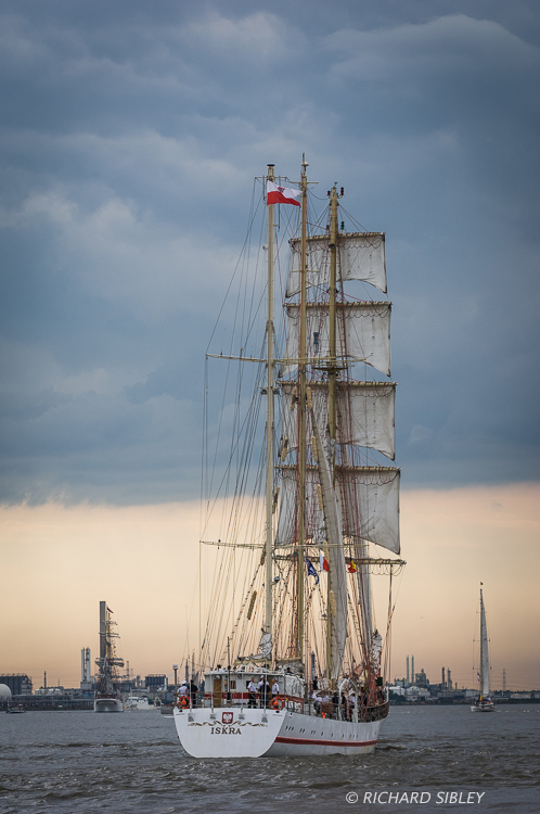 Polish Barquentine, ORP Iskra. Parade of Sail. Antwerp Tall Ships Race 2010