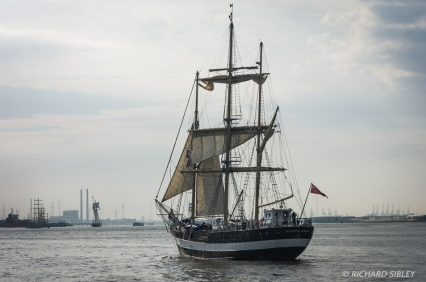 Mainmast Barquentine, Pelican of London. Parade of Sail. Antwerp Tall Ships Race 2010