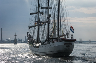 Dutch 3 masted Barque, Artemis, Parade of Sail. Antwerp Tall Ships Race 2010