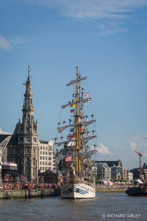 Barquentine 'Dewaruci' Indonesia. Parade of Sail. Antwerp Tall Ships Race 2010