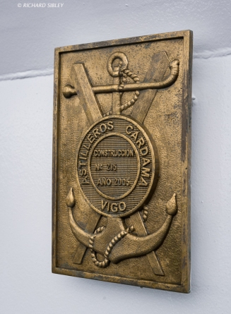 Plaque of the shipyard that built the Coast Guard Vessel Sebastián de Ocampo