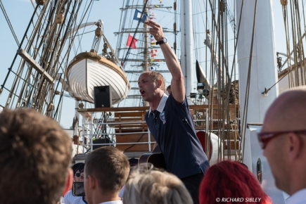 An evening of shanty singing onboard the Norwegian Barque Statsraad Lehmkuhl