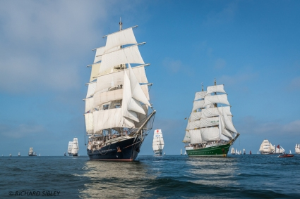 Norwegian Barque Statsraad Lehmkuhl, Dutch Clipper Brig Morgenster, British Barque Tenacious, Russian Full Rigger MIR, German Barque Alexander von Humboldt II and Pelican of London