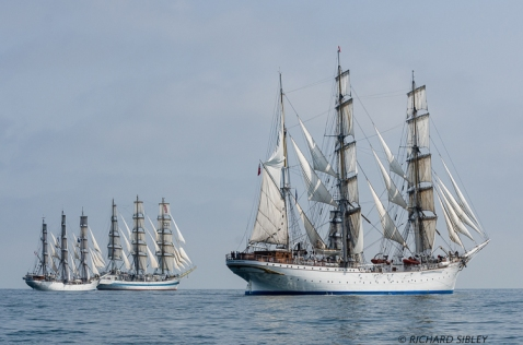 Norwegian Full Rigger Christian Radich and the Russian MIR and Norwegian Barque Statsraad Lehmkuhl