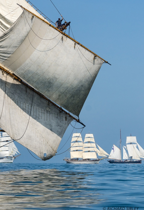 Background vessels are Mexican Barque Cuauhtemoc, Swedish Brig Trekronor and the Dutch Schooner Wylde Swan