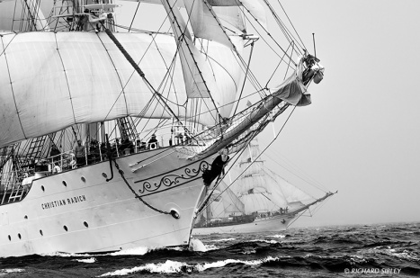 The Norwegian full rigger Christian Radich from the Dutch barque Europa.