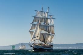Barque Lord Nelson, Great Britain. Background vessels, Alexander von Humboldt ll and Gulden Leeuw