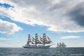 Full Rigger, MIR, Russia. with sister ship Dar Mlodziezy, Poland. Torbay - Lisbon