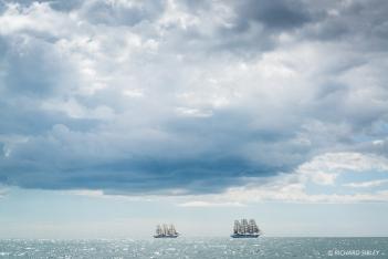 Full Rigger, MIR, Russia. with sister ship Dar Mlodziezy, Poland. Torbay - Lisbon.