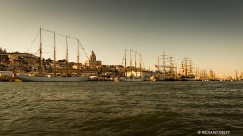 Visible ships from left to right, Santa Maria Manuela, Creoula, Statsraad Lehmkuhl, Georg Stage and Amerigo Vespucci
