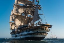Italian full rigger Amerigo Vespucci. Background vessels, Pogoria, Fryderyk Chopin and Santa Maria Manuela