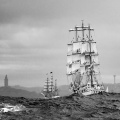 Parade of sail in stormy weather, coast of Galicia. Northwest Spain