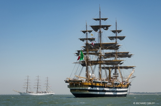 Italian full rigger, Amerigo Vespucci. Background vessel Dar Mlodziezy, Poland