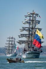 Mexican barque Cuauhtemoc and Venezuelan barque, Simon Bolivar