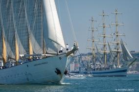 Portuguese schooner Santa Maria Manuela and Russian full rigger MIR