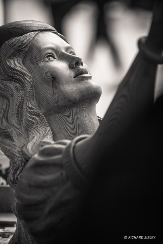 Replica figurehead of a Valkyrie recovered from a Danish ship wreck. Ships Carver, Andy Peters