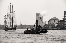 Dutch Schooner Oosterschelde and PORTWEY the only twin screw, coal fired steam tug now active in the United Kingdom