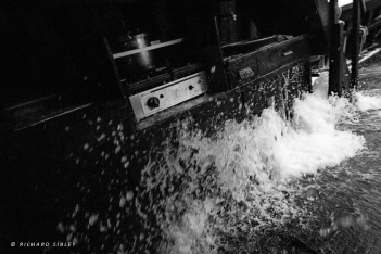 The galley gets a wash down in the rough seas