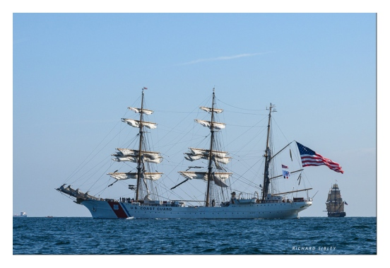 US Coast Guard, Barque Eagle, background vessel Russian Frigate Shtandart