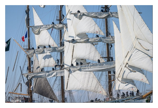Dowsing sail onboard the Mexican barque Cuauhtemoc