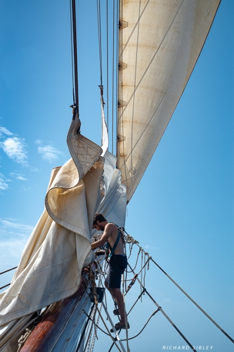 Painting out on the bowsprit