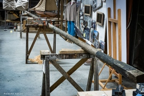 A general view of the new mast glued up