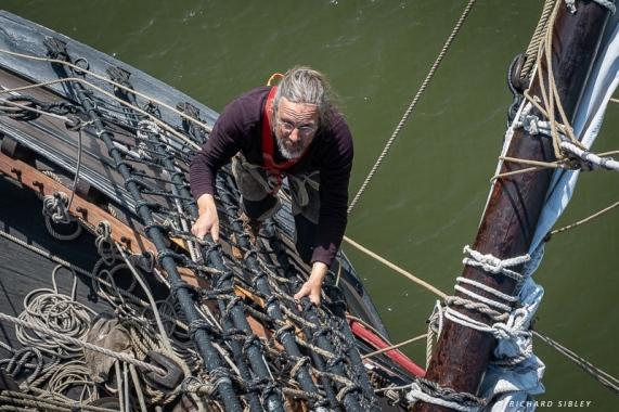 Climbing the rig
