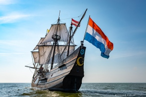 The Dutch flag flying from the stern