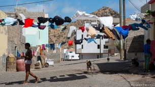 "The village of Sao Pedro. ""Nothing grows in our garden except washing and babies"" Dylan Thomas"