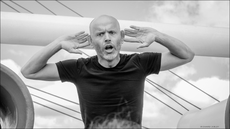 Haakon Steiner Vatle. Leading the shanty singing, Statsraad Lehmkuhl, Bergen to Aalborg expediton 2019